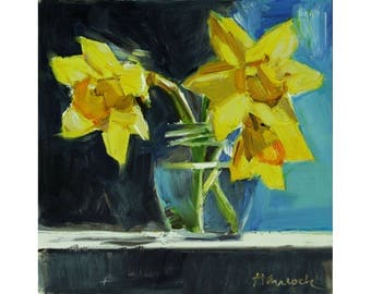 Three Yellow Daffodils, Daffodils in Round Glass Jar, Spring Daffodil Bouquet