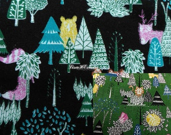 Animal behind tree, 1/2 yard, pure cotton fabric