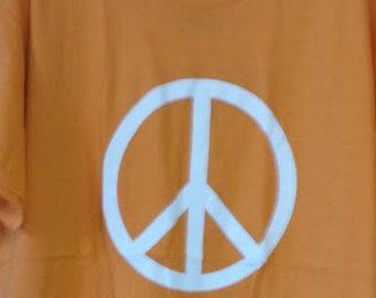Peace Symbol T-Shirt white on Orange short sleeve cotton/poly blend tee Large