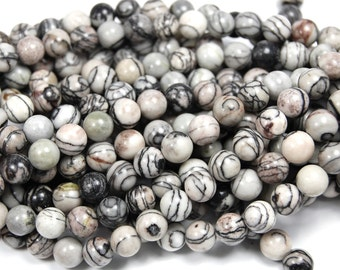 8mm Black Silk Stone in Black and Gray -15 inch strand
