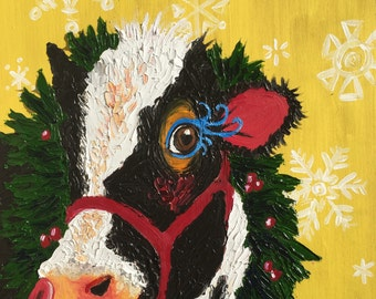 Cow painting Christmas art
