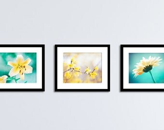 Teal Yellow Flower Photography Set, Turquoise Aqua Floral Art, Colorful Nature Photographs, Three Botanical Pictures, 3 Flower Prints,