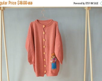 SALE Oversized cardigan Knitted Peach Caridgan Sweater with Teddy Bear applique