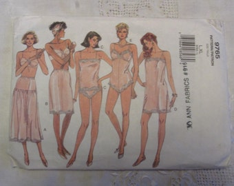 Vogue 9676 Lingerie Pattern FF Large Extra Large Slip Teddy Panties