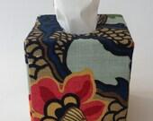 Tissue Box Cover - Schumacher Chiang Mai (Aquamarine)