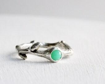 Chrysoprase Silver Twig Ring, Silver Branch Fine Jewelry