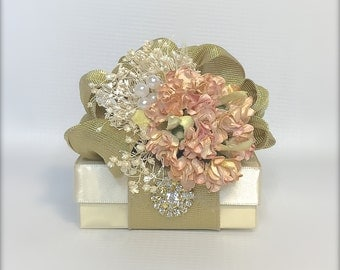 Peach Ivory Gold Gift Box Jewelry Gift Box Wedding Favor Box Jewelry Box Pre-wrapped Box Bridesmaid gift Elegant, Romantic, Rhinestone