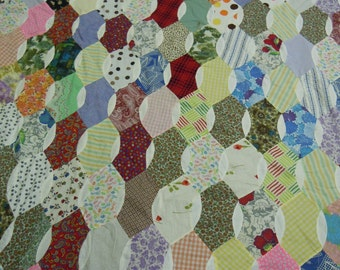 "Vintage scrappy cotton quilt top 1960's  feedsack print  bow tie  64"" x 90""  hand and machine pieced"
