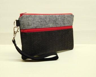 gray black smartphone wristlet, pinstripe smartphone wallet, black gray clutch, mini purse, black red iphone wristlet, black iphone wallet