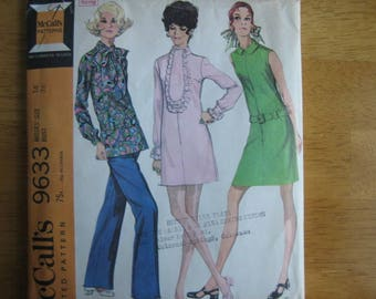 McCall's Pattern 9633 Misses' Dress in Two Versions or Top and Pants      1969     Uncut