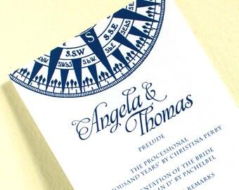 Compass Wedding Programs, Nautical Wedding Programs, Beach Wedding Ceremony Program, Double Sided Program, Beach Wedding, Printed Programs