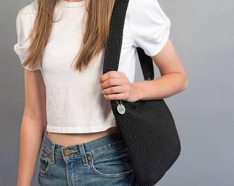 90s The Sak Bag / Minimalist Purse / Shoulder Purse / Woven Bag / Black Purse / Sak Purse