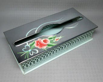 Vintage tissue box with painted rose / flower , pierced openings , toleware shabby chic