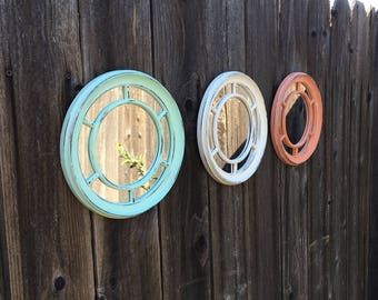 Set of 3 Porthole Mirrors - Shabby Chic Up-Cycled & Distressed in Sea Foam, Coral, Cream