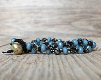 Beaded knotted wrap bracelet - artisan boho - yoga boho - boho bracelet - boho wrap bracelet -hippie bracelet