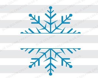 Split Snowflake SVG DXF png pdf jpg ai, Winter Clip Art, Vector cut file, Cricut, Silhouette cutting file, instant download