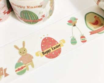 Happy Easter Bunnies Eggs Easter Design Hens Chicks Easter Egg Washi Tape 5.5 yards 5 meters 30mm
