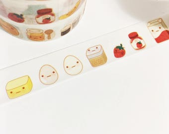 Adorable Kawaii Food Colorful Smiley Face Condiments Baking Cooking Food Washi Tape 11 yards 10 meters 15mm