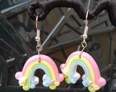 rainbow pastel pride earrings kawaii retro