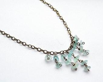"Soft Aqua California Seaglass Waterfall Bib Chandelier Brass 20 1/2"" Necklace"