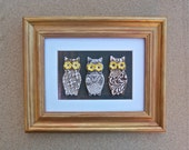 Brown Owls wall art - Ceramic owls wall hanging - Three wise owls - Mixed media art in gold frame