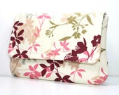 Clutch Purse - Burgundy, Gray, Dark Green, Pink and Tan Flowers and Leaves on Ivory with 2 Pockets - Optional Detachable Wrist Strap