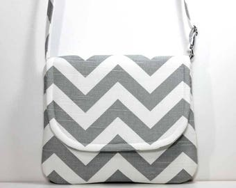 Medium Crossbody Bag Over the Shoulder Purse Sling Bag Hobo Bag Cross Body Bag - Gray / Grey and White Chevron - Made to Order