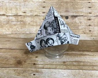 "Newborn Hat, Newborn Fabric ""Newspaper"" Sailor Hat, Newborn Photography Prop, Baby Hat, Cute Grandma Fabric Newspaper Hat, Ready To Ship"