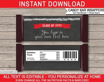 Graduation Candy Bar Wrappers - Graduation Theme Party - Party Decorations - Red & Chalkboard - INSTANT DOWNLOAD with EDITABLE text