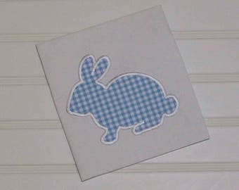Boy Easter Shirt, blue gingham Bunny with monogram, many colors...6m,12m,18m,2t,3t,4t,5/6
