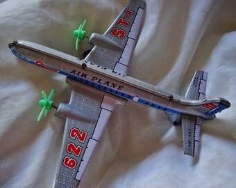 Vintage Air Plane, Vintage Aeroplane, Tin Toy Airplane,Boys Toys, Twin Prop Plane