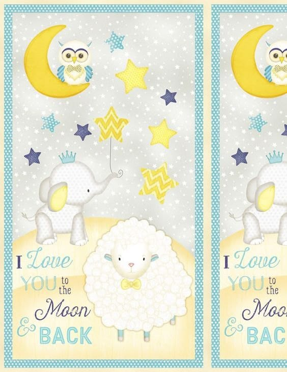 I love you to the moon and back baby panel print fabric from for Moon print fabric