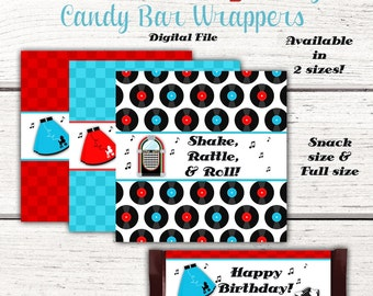 1950's Birthday Party Candy Bar Wrappers, 50's, Fifties, Sock hop, diner, Party Favors, Party Decorations, Red, Instant Download