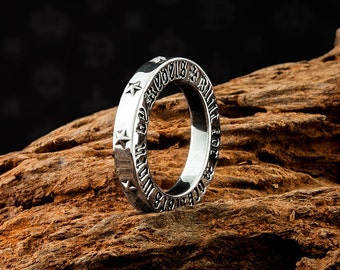 Mens 925 Sterling Silver Built For The Rock Stars Stack Ring with personalised text on the side of Band