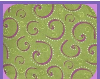 Lime Green FABRIC Cotton Swirls Curls Fat Quarter