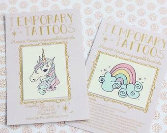 Unicorn + Rainbow Temporary Tattoo Set