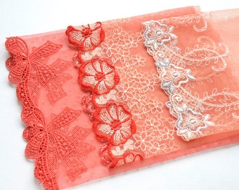 Orange Lace Grab Bag, Tangerine Lace, Orange Floral Trim, Best of Embroidery, Lingerie, Dolls Costume, Lace Crafts, Couture Sewing