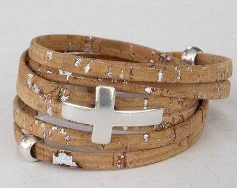 Natural Cork Wrap, Whirly Wrap bracelet, Cork, silver sparkling flecks, soft cork, silver cross, secure magnet, easy on and off