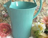 Turquoise Water Pitcher, Vintage Aluminum enameled in bright turquoise, Re-cycled by BMC Vintage Design Studio FOOD SAFE