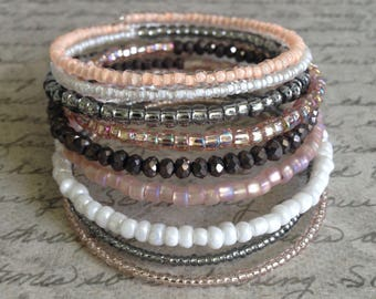 Memory Wire Bracelet in Pearl, Grey, and Soft pink Glass Beads- Something Chic