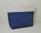 Large Polka Dot Cosmetic Bag, Navy Blue Stand up Makeup Bag, Toiletries Zipper Pouch, Sewing Craft Project Bag, Green Leaves, Gift for Her