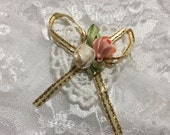 White Heart Dollie With Ribbon Roses, Embellishments, Sewing, Journals,Scrapbooks