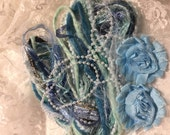Fiber Art Victoria #5 Collection, Embellishments, Blues, Shabby Chic, Scrapbooking, DIY, Arts and Crafts