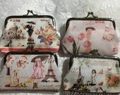 French Paris Collage Change Purse, Coins, Money, Gift Items