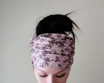 BOTANICAL Head Scarf - Boho Hair - Boho Floral Wrap - Extra Wide Jersey Headband - Bohemian Hair Accessories - Blush Pink and Soft Brown