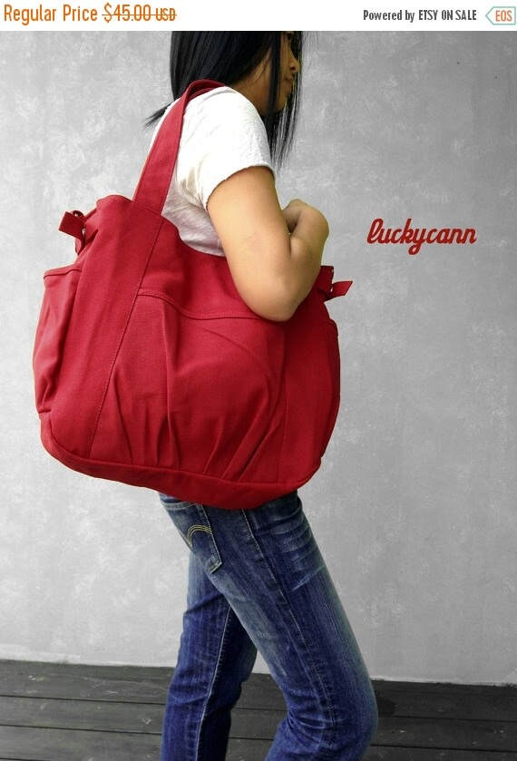 20% Easter On Sale IRIS // Red / Lined with Beige / 053 // Ship in 3 days // Messenger / Diaper bag / Shoulder bag / Tote bag / Purse / Gym