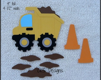 Die Cut Dump Truck Toy Scrapbook Page Embellishments for Card Making Scrapbook or Paper Crafts