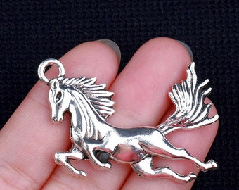 "2pcs-2"" silver Horse charm-Antique silver pony charm"