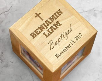 Engraved Baby Baptism Photo Cube, baby gift, engraved, baby photo keepsake, personalized, baptism gift, religious -gfy4113744