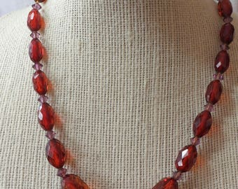 """Vintage necklace, graded sized plastic beads, amber, with mauve spacers, approx 16""""ins long. Lovely screw back fastener. GB16.10-11.11-6."""